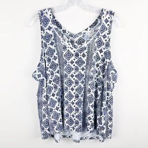 Lucky Brand Tribal Print Blue Tank Top Blouse